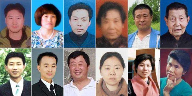 Photos of some of the deceased practitioners (from left to right, top to bottom): Mr. Wang Jian, Ms. Yang Guizhi, Mr. Shao Minggang, Ms. Zhang Wei, Mr. Wang Xinchun, and Mr. Wang Hongzhang, Mr. Zhang Hongwei, Mr. Shi Qiang, Mr. Li Chengshan, Ms. Kong Hongyun, Ms. Sun Libin, and Ms. Tan Yinzhen,